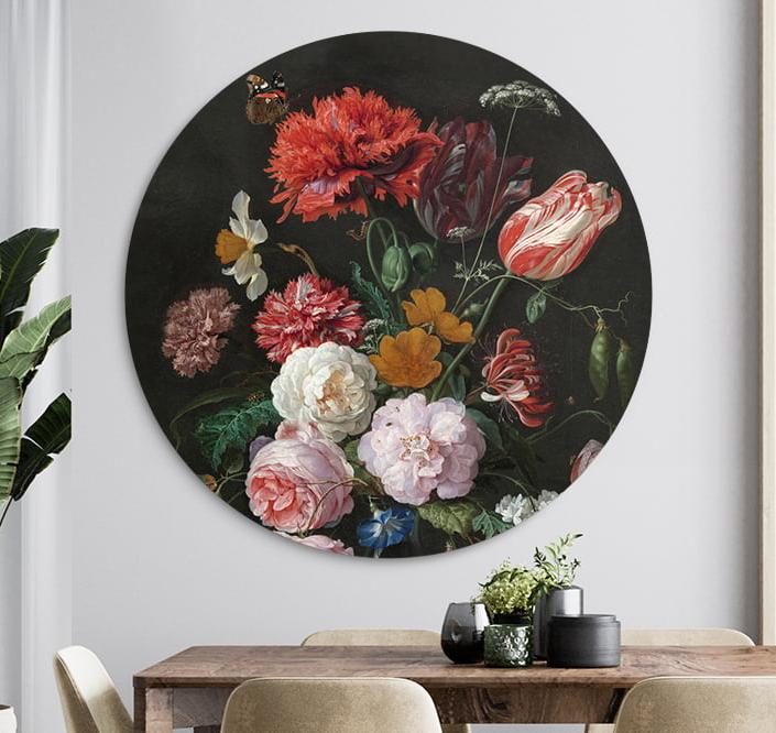 Stilleven-met-bloemen-in-een-glazen-vaas-jan-davidsz-de-heem-easycanvas-wandcirkel-muurcirkel-wanddecoratie-decoratie-easycanvas-muurdeco